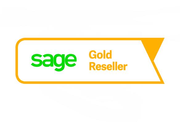Das Logo Sage Gold Reseller Partnerstatus von WUD, eines der IT-Produkte von WUD