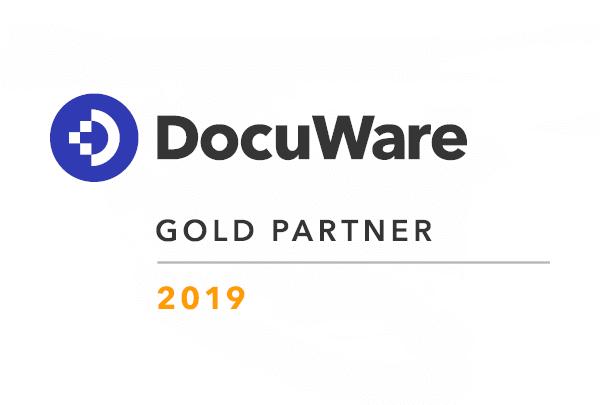Das WUD DocuWare Gold Partner Logo 2019, eines der IT-Produkte von WUD