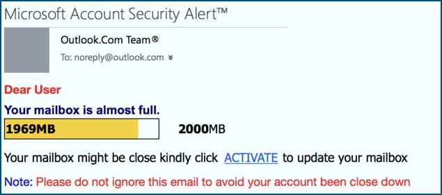 Dieses Screenshot zeigt wie eine Deceptive-Phishing-Attacke aussehen kann
