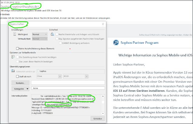 Phishing-Anzeichen für IT-Sicherheit-Screenshot eines Mail-Headers in Microsoft Outlook