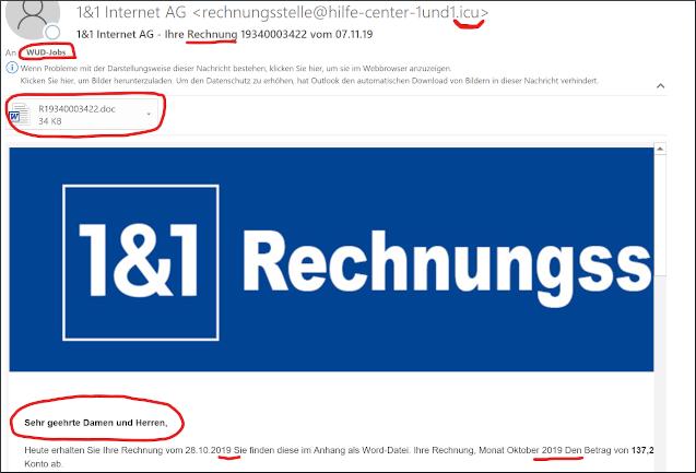 Phishing-Anzeichen für IT-Sicherheit - Screenshot einer klassischen Phishing-Mail