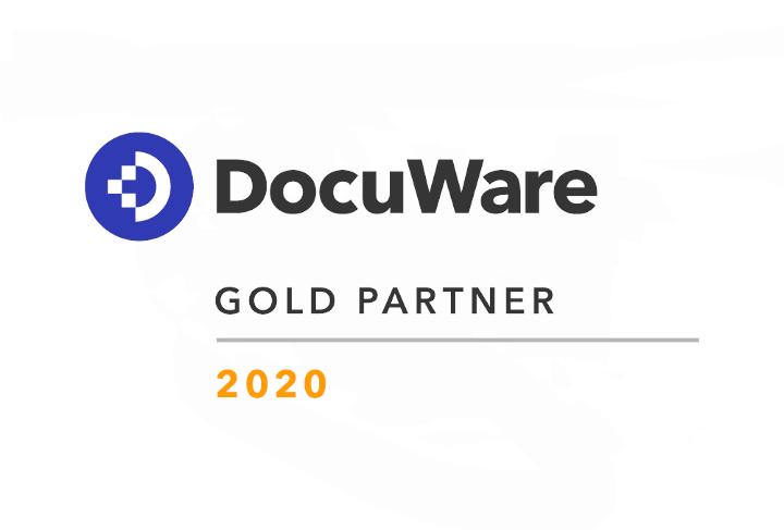 Das WUD DocuWare Gold Partner Logo 2020, DMS-Lösung von WUD