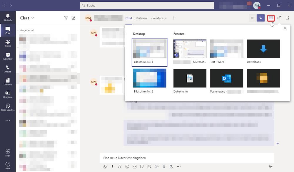Microsoft Teams Tipp - Bildschirm für Andere freigeben