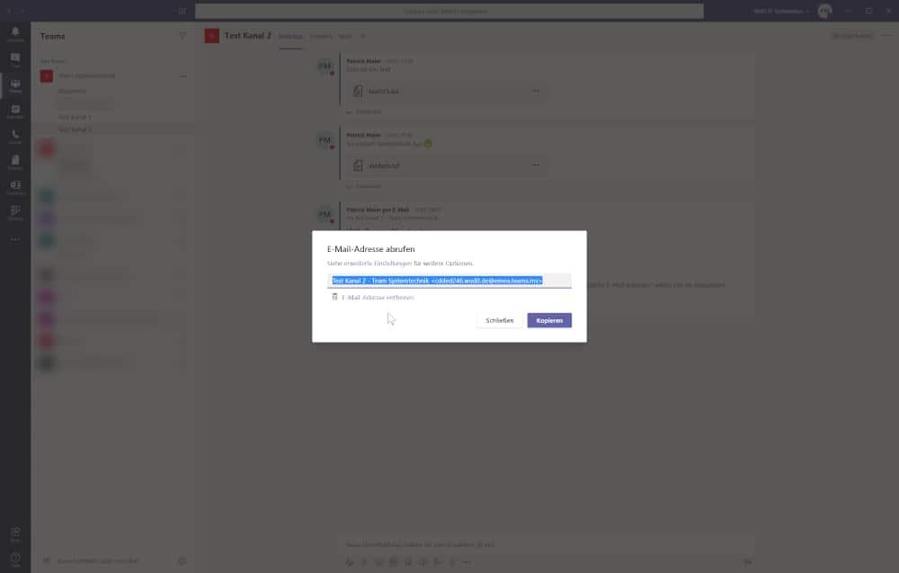 Microsoft Teams Tipp - Automatisch eine Email-Adresse generieren
