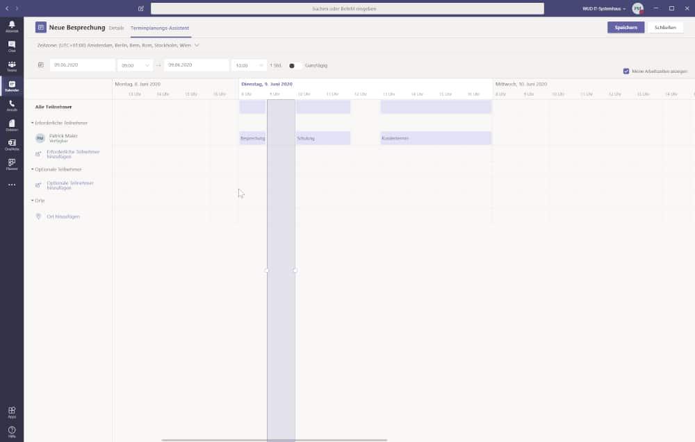 Microsoft Teams Tipp - Planung der Meetings über Teams-Kalenderfunktion