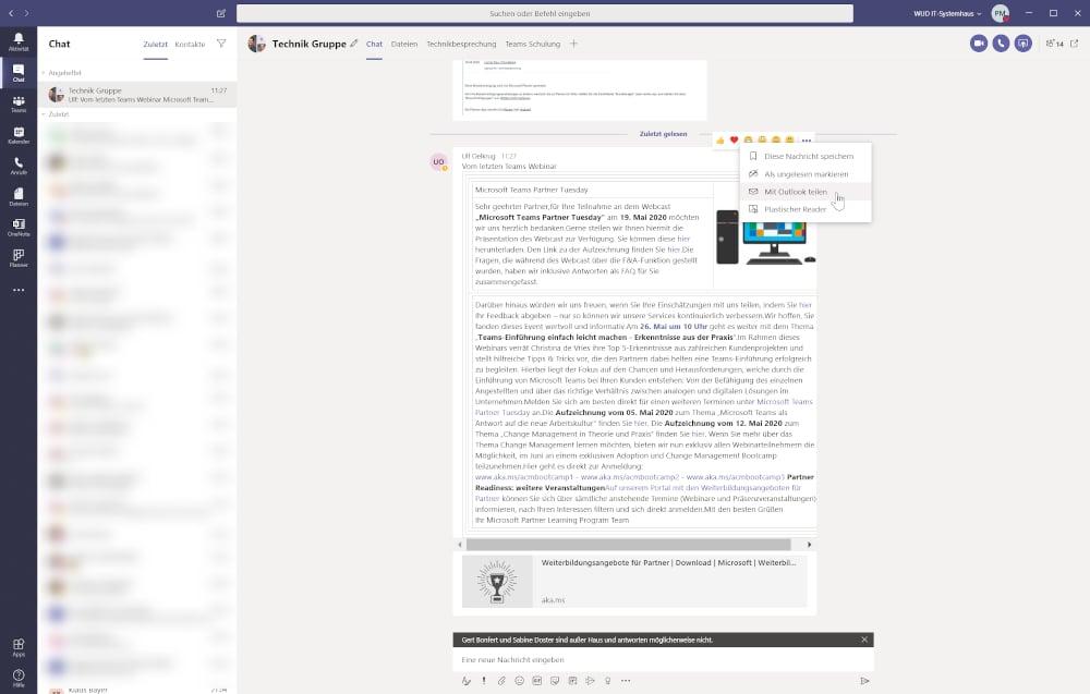 Microsoft Teams Tipp - Über Outlook eine Email teilen